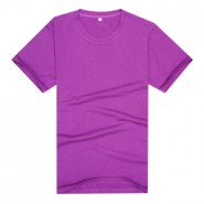 【2014新品】紫色款品质莱卡棉制作文化衫(可印字或图案)