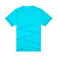 【2014新品】湖蓝色新款品质莱卡棉制作文化衫(可印字或图案)