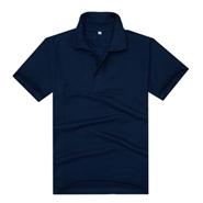 藏蓝色经典珠地网眼棉翻领T恤衫(现货可印logo图案)