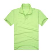 时尚果绿色珠地网眼棉翻领T恤衫(现货可印logo图案)